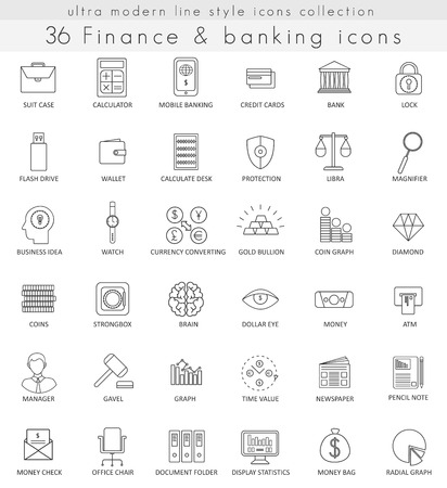 Vector Finance and Banking ultra-moderne Kontur Linie Icons für Web und Apps