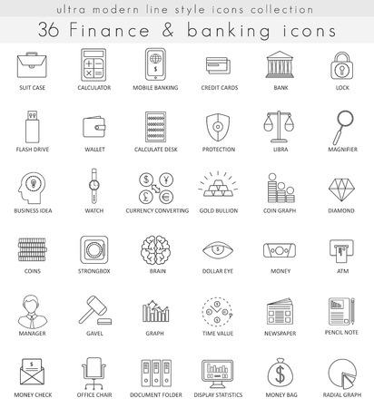 Vector Finanzas y banca iconos de líneas de contorno ultra moderno para web y aplicaciones Ilustración de vector
