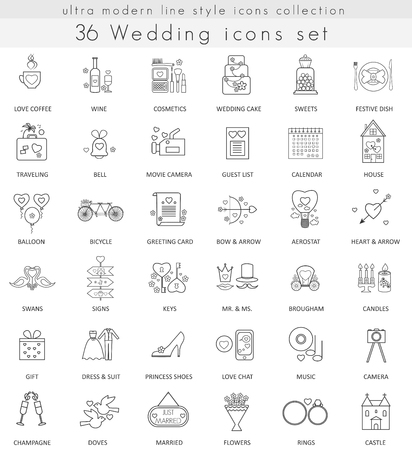 ultra modern: Vector wedding ultra modern outline line icons for web and apps
