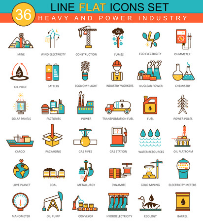 heavy set: Vector heavy and power industry flat line icon set. Modern elegant style design  for web Illustration