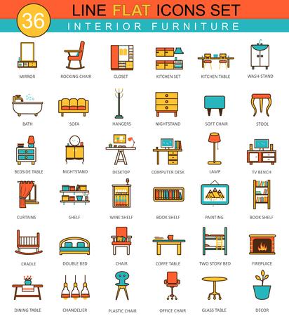Conjunto de muebles de vectores icono de línea plana. diseño de estilo moderno y elegante para la web Foto de archivo - 55630091