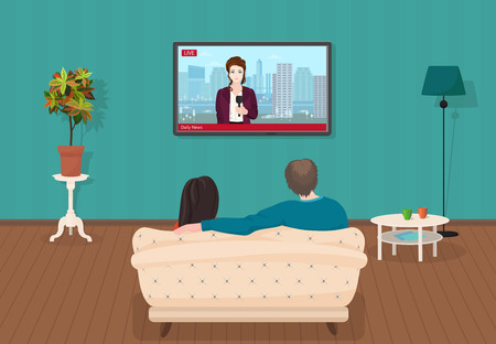 Young family man and women watching TV daily news program together in the living room. Vector illustration