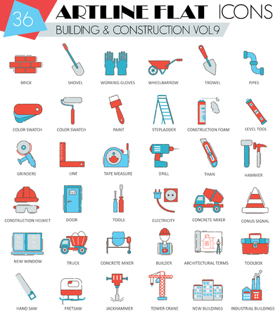 ultra modern: Vector Construction and building tools ultra modern outline artline flat line icons for web and apps