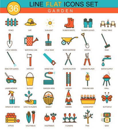 tools icon: Vector garden tools flat line icon set. Modern elegant style design  for web