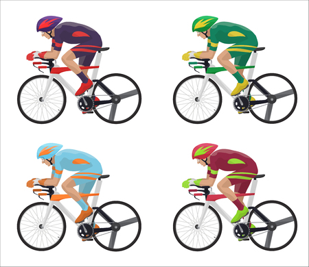 Set of different Racing cyclist in action. Bicyclist silhouettes vector illustration