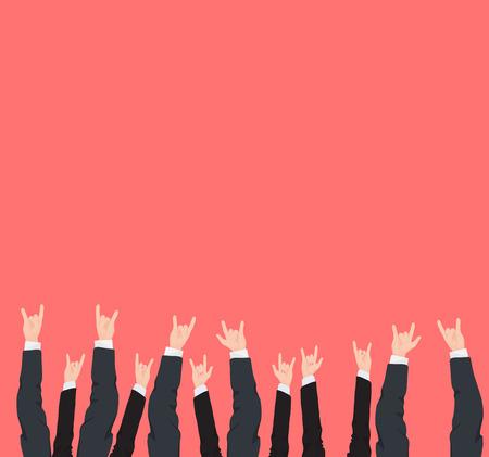 Molte mani in alto vittoria rock fresco e gesti di successo di diversi uomo d'affari e la donna mani isolate