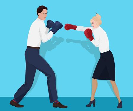 Zakenman in bokshandschoenen met een strijd met zakenvrouw. Vechten zakelijke partners
