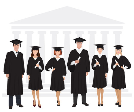 Young guys and girls graduates standing in front of university building holding diploma
