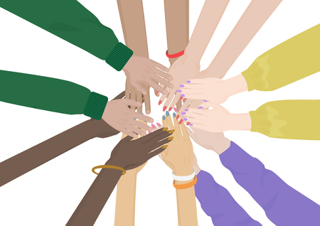 hands together: Group of Diverse Hands Together isolated. Team of friends unity