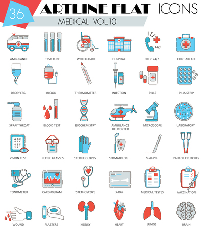 ultra modern: Vector Medical ultra modern outline artline flat line icons for web and apps Illustration