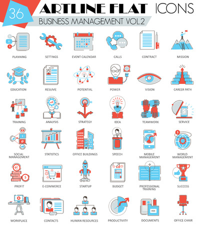 ultra modern: Vector Business management ultra modern outline artline flat line icons for web and apps