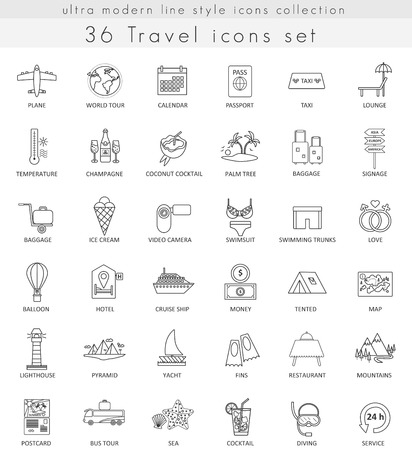 ultra modern: Vector Travel ultra modern outline line icons for web and apps