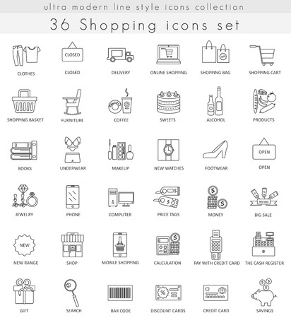 free hand: Vector shopping ultra modern outline line icons for web and apps Illustration