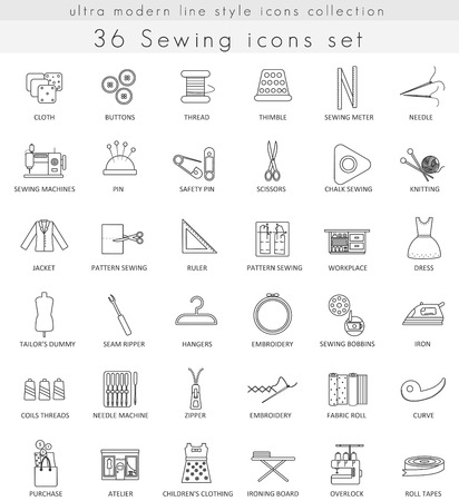 ultra modern: Vector Sewing ultra modern outline line icons for web and apps Illustration