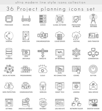 Vector Network technology ultra modern outline line icons for web and apps  イラスト・ベクター素材
