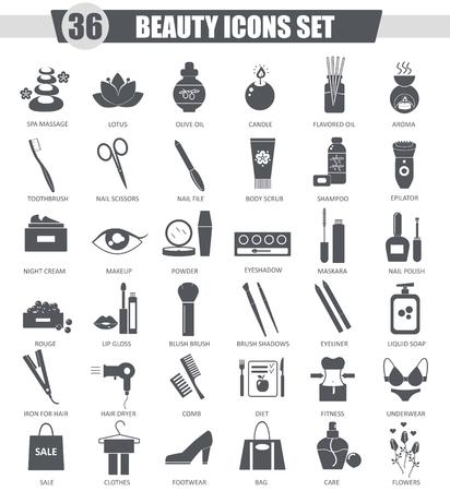 Vettore di bellezza e cosmetici icona nera insieme. Grigio scuro disegno classica icona per il web