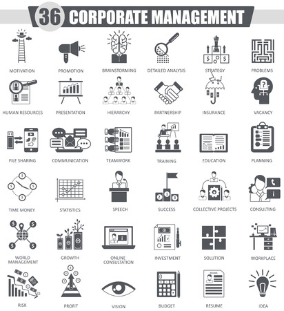 managment: Vector Corporate managment black icon set. Dark grey classic icon design for web