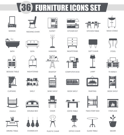 Vector Furniture zwarte icon set. Donkergrijs klassiek design icoon voor web