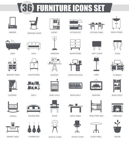Vector Furniture black icon set. Dark grey classic icon design for web