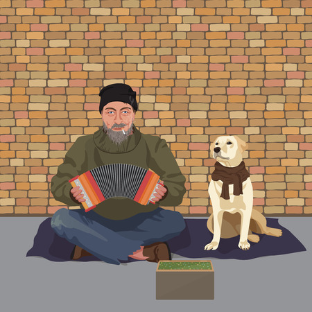 Homeless man with Dog. Shaggy man in dirty rags playing the accordion harmony. Asking for help