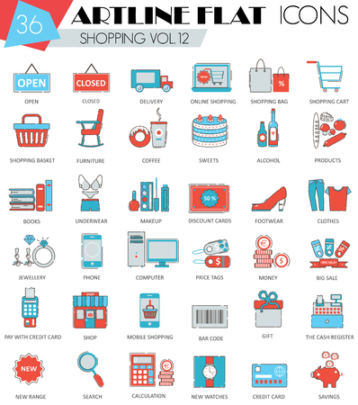 ultra modern: Vector Shopping ultra modern outline artline flat line icons for web and apps