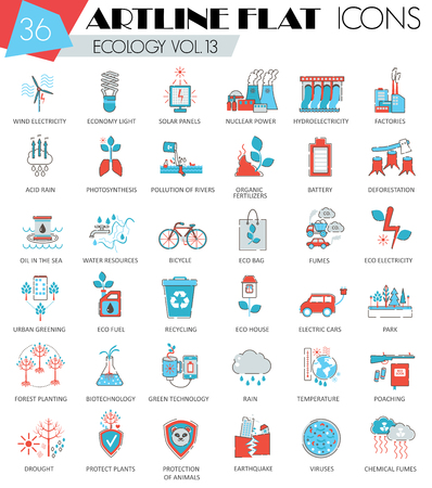 ultra modern: Vector Ecology ultra modern outline artline flat line icons for web and apps Illustration