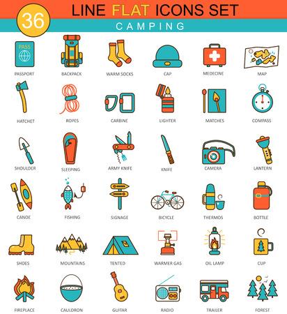 Vector Camping flat line icon set. Modern elegant style design  for web