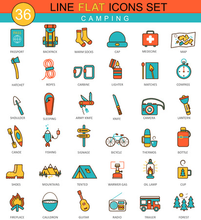 Vector Camping flat line icon set. Modern elegant style design  for web