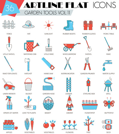 ultra modern: Vector Garden tools ultra modern outline artline flat line icons for web and apps