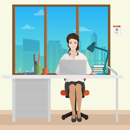 woman laptop: Woman Secretary office manager in office interior. Businesswoman person working on laptop