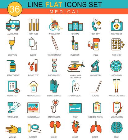 Vector medische geneeskunde platte lijn pictogramserie. Modern elegant stijlontwerp voor Web