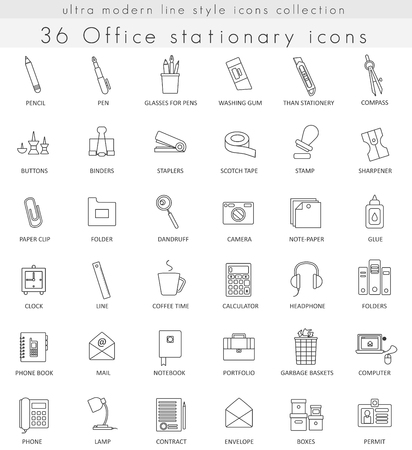 ultra modern: Vector Office Stationery ultra modern outline line icons for web and apps