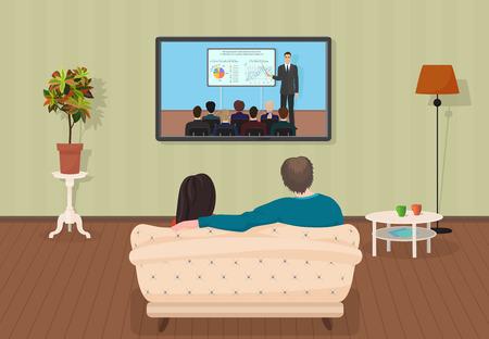 若い家族の男とトレーニング チュートリアル プログラム一緒に居間でテレビを見ている女性。ベクトル図