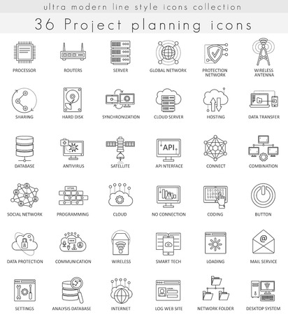ultra modern: Vector Project planning strategy ultra modern outline line icons for web and apps