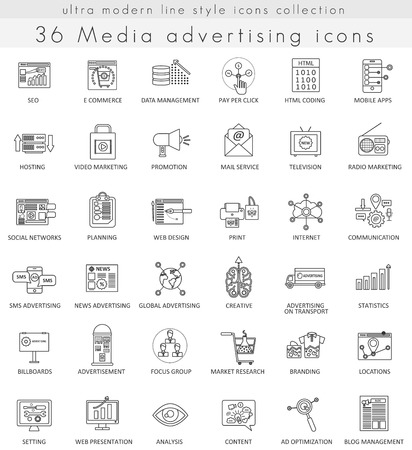 brand monitoring: Vector Media advertising ultra modern outline line icons for web and apps