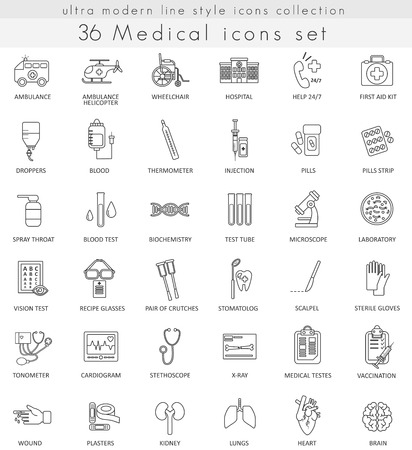 ultra modern: Vector Medical ultra modern outline line icons for web and apps