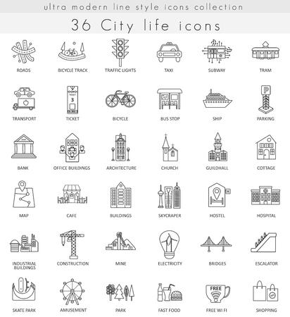 ベクトル近代都市超寿命モダンなアウトライン線 web とアプリのアイコン