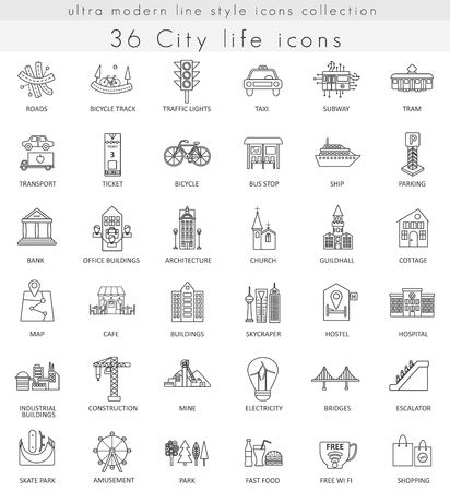 Vector Modern City ultra life modern outline line icons for web and apps