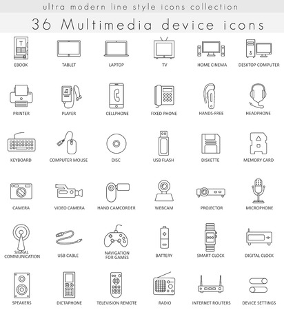 ultra modern: Vector Multimedia Devices ultra modern outline line icons for web and apps