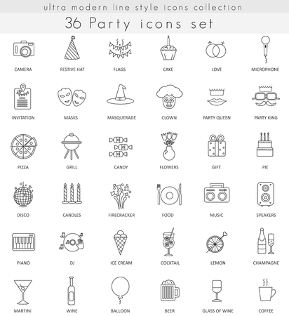 ultra modern: Vector Party ultra modern outline line icons for web and apps Illustration