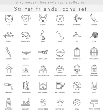 ultra modern: Vector Pet ultra modern outline line icons for web and apps Illustration
