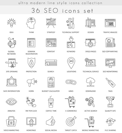 ultra modern: Vector SEO and development ultra modern outline line icons for web and apps Illustration