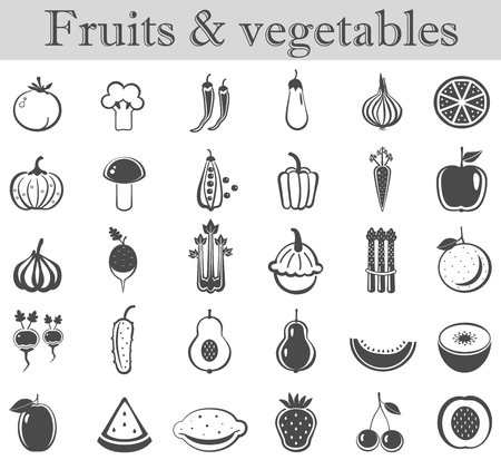 ultra modern: Vector fruits and vegetables black icon set. Dark grey ultra modern icons