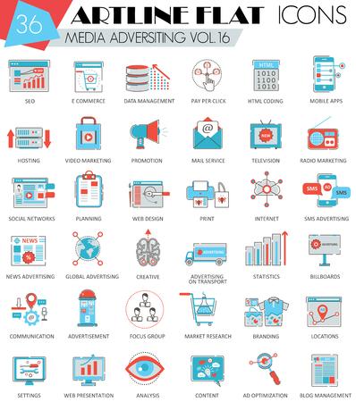 ultra modern: Vector media advertising ultra modern outline artline flat line icons for web and apps