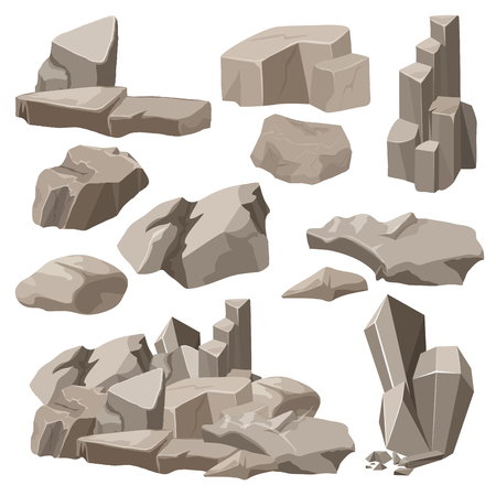 Rocks and stones elements collection set. Vector illustration