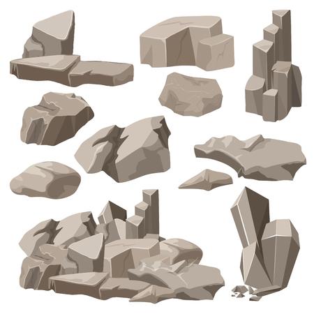 Set di raccolta di elementi rocciosi e pietre. Illustrazione vettoriale