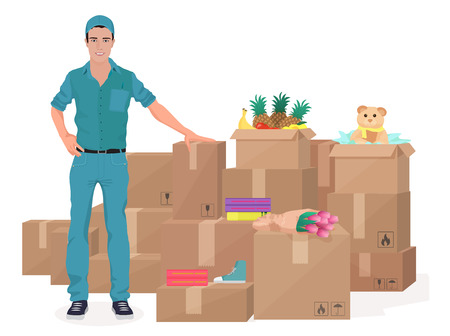 delivering: Delivery move service man near boxes. Cargo concept vector illustration