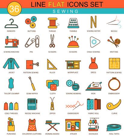 twist: Vector sewing flat line icon set. Modern elegant style design  for web Illustration