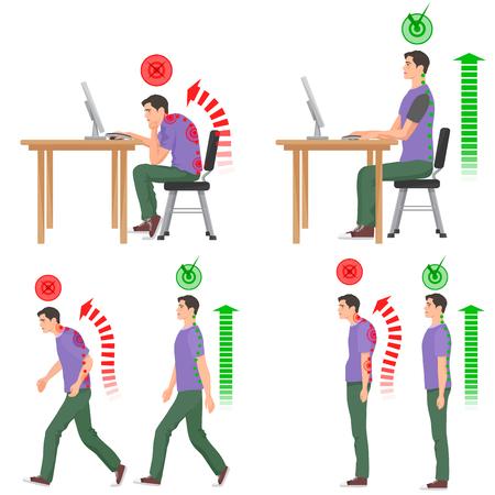 Correcta y sin corregir malas posiciones sentado y de pie. La marcha del hombre. Hombre de sesión. Volver sensación de dolor y lesiones de la médula Ilustración de vector