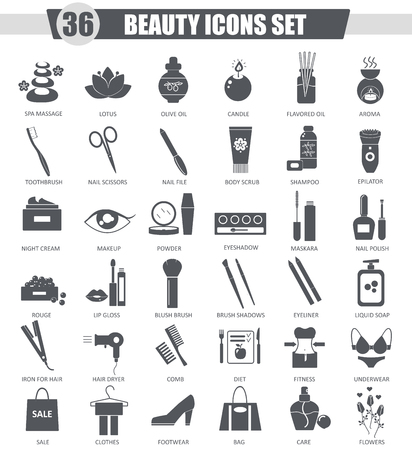beauty icon: Vector Beauty and cosmetics black icon set. Dark grey classic icon design for web
